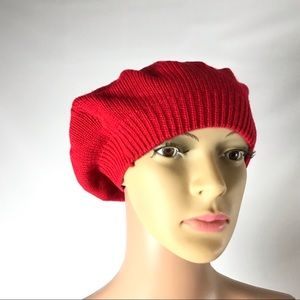 New Charter Club Women Knit Hat Red One Size Solid